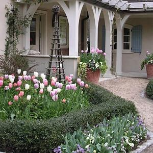 Garden ideas, Landscaping ideas, pergola, arbor, french style garden, tulips, late spring garden, tulip Menton, tulip Maureen, tulip Dreaming maid, AHBL Landscape