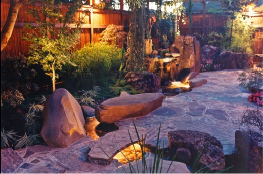 Small Garden, Small backyard, Small space, Asian garden, Koi Pond, Waterfall. Goodman Landscape