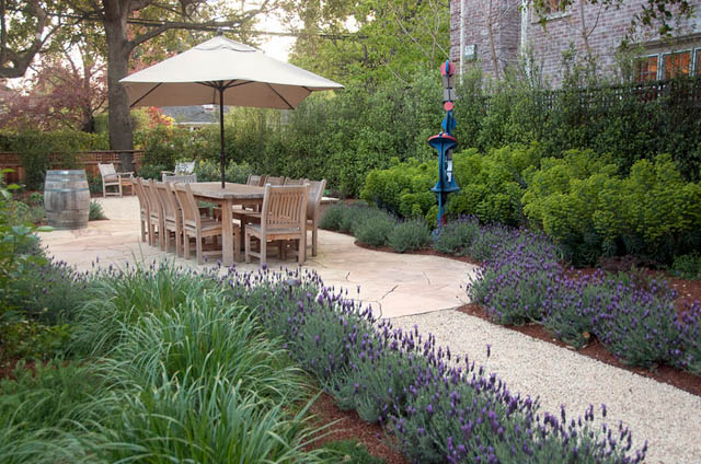 Garden Ideas, Landscaping ideas, pathway, walkway, Mediterranean Path, Verdance Fine Garden Design, Lavender,gravel path,fire pit, fire pit area, dining patio